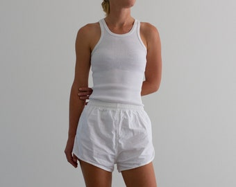 Vintage 24 25 26 27 28 Waist White Elastic Cotton Shorts | Made in France | XS S |