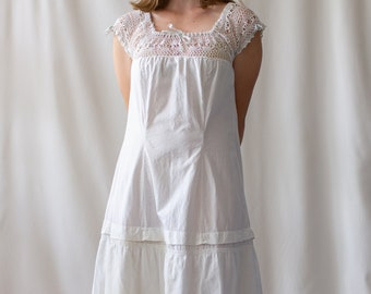 Vintage White Cotton Crochet Dress | Antique White Nightgown | Vintage White Summer Cotton | Market Dress