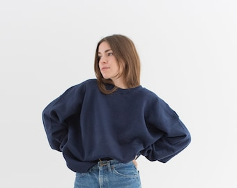 Vintage 90s Navy Blue Crew Sweatshirt | Heavyweight Blank Cozy Fleece Sweat | Made in USA | L XL |