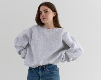Vintage 90s Light Heather Grey Sweatshirt | Heavyweight Blank Gray Cozy Fleece V Stitch Sweat | Made in USA | L XL |