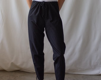 Vintage 23-32 Waist Slim Black Drawstring Easy Pant | High Waist Cotton Pant | 24 25 26 27 28 29 30 31