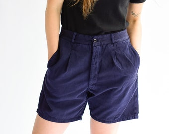 Vintage 26 28 30 Waist Navy Blue Pleat Shorts | French Workwear style |
