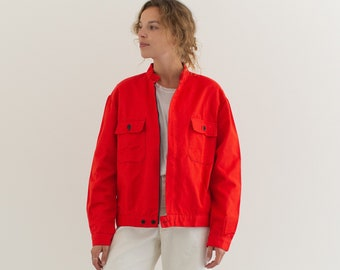 Vintage Bright Red Zip Work Jacket | Cotton Workwear Style Utility Coat | Made in Italy | M | IT---