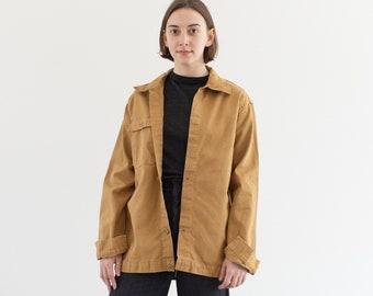 Vintage Tan Khaki Single Pocket Work Jacket | Utility Coat | Made in Italy | S | IT173