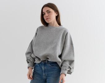 Vintage 90s Heather Grey Sweatshirt   Heavyweight Blank Gray Cozy Fleece V stitch Sweat   Made in USA   L XL  