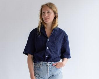 Vintage Overdye Navy Blue Button Up Shirt | Short Sleeve Work Shirt | S M L |