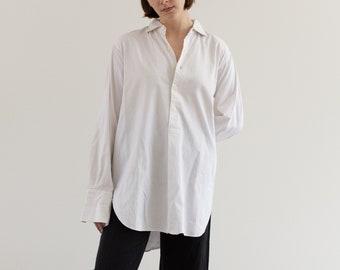 Vintage White Stripe Popover Dress Shirt | 100% Cotton Work Tunic | Crisp French Cuff | M L |