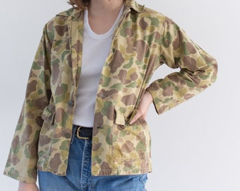 Vintage Faded Green BrownCamo OverShirt | Camouflage Cotton Button Up Jacket | XS S |