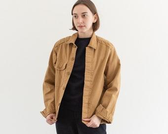 Vintage Tan Khaki Single Pocket Work Jacket | Utility Coat | Padded Shoulders | Made in Italy | S | IT175