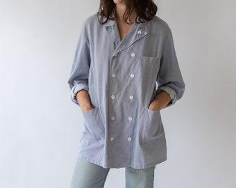 Vintage Double Breast Striped Sculptor Jacket | Blue White Cotton Workwear Style Utility Blazer | Chef Work Coat |