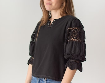 Vintage Black Puff Sleeve Shirt | Grommet Crochet | Linen | Romantic Blouse | S | BP089