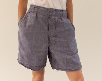 Vintage 27 Waist Blue French Linen Shorts | Edited |