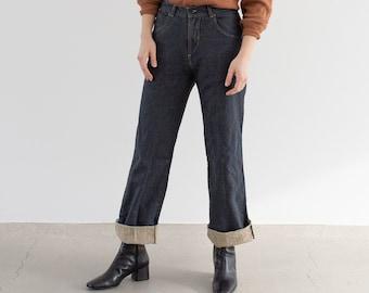 Vintage 28 29 31 35 Waist Linen Cotton Utility Jeans | Rivet Made in Spain Pants | Med Wash Straight Leg High Waist Jean |