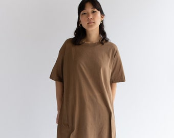 Vintage Large Crew Neck Almond Brown T-Shirt Dress | 100% Cotton | Army Brown Tee Large | Nude Tee