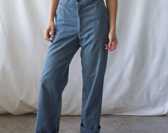 Vintage 28 Waist Teal Cotton Twill Chinos Pants | Mended | TC35