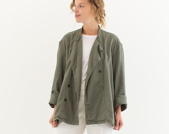 Vintage Grey Studio Jacket | Cotton Double Breast Overshirt | L