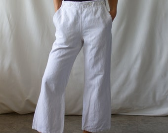 Vintage 28 29 30 31 32 Waist White Sailor Trousers | Broadfall High Rise Herringbone Twill Cotton Pants |