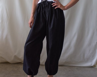 Vintage 24-42 Waist Black Drawstring Easy Pant | High Waist Cotton Pants | 25 26 27 28 29 30 31 32 33 34 35 36 37 38 39 40