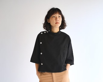 PRE ORDER The Wakeley Smock in Black | Vintage Side Button Crop Shirt | Short Sleeve Studio Shirt | Artist Smock | M L