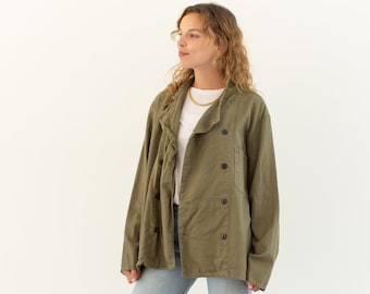 Vintage Olive Green Studio Jacket | Double Breast Cotton Overshirt | M L |