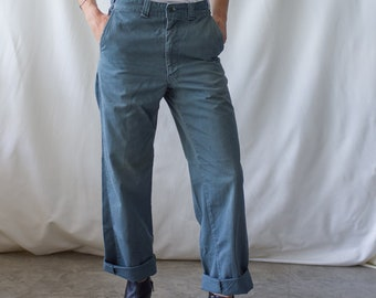 Vintage 28 Waist Teal Cotton Twill Chinos Pants | Mended Repaired | TC34
