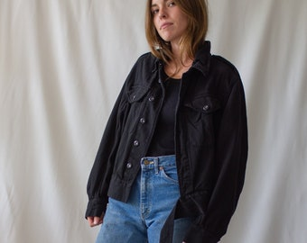 Vintage Black Denim Moto Jacket | Corozo 50s British Military | XS S M L |