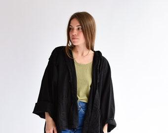 Vintage Black Hood Jacket | Smock Drawstring Layer | Overdye Cotton Swing Coat