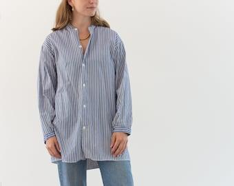Vintage Blue White Stripe Shirt Tunic | Striped Workwear |