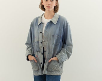 Vintage Blue French Workwear Chore Coat | Cotton Painter Work Jacket | L