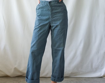 Vintage 28 Waist Teal Cotton Twill Chinos Pants | Mended Repaired | TC32