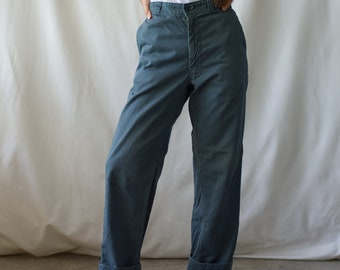Vintage 28 Waist Teal Cotton Twill Chinos | Green Pants  | TC12