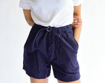 Vintage 27 28 29 30 Waist Navy Blue Cotton Blend Shorts | High Waist | Belted Short | Overdye