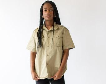 Vintage Khaki Cotton Twill Button Up Shirt | Light Tan Safari Shirt |