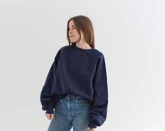 Vintage 90s Navy Blue Crew Raglan Sweatshirt | Heavyweight Blank Cozy Fleece Sweat | Made in USA | L XL XXL |
