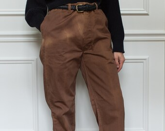 Vintage 32 33 Waist Coffee Brown Cotton Chinos | Sun-Faded Trousers |