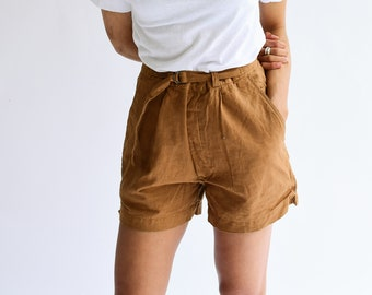 Vintage 27 28 29 30 31 Waist Almond Brown Cotton Blend Shorts | High Waist | Belted Short | Overdye