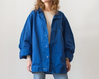 Vintage Matisse Blue Oversized Side Snap Coat | Utility Work Jacket | L |