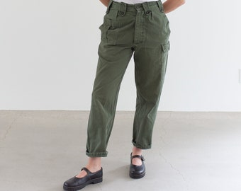 Vintage 27 Waist Olive Green Fatigues | Cargo Trousers | Pleated Army Pants | AP162