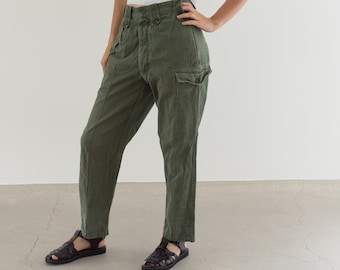 Vintage 27 Waist Olive Green Fatigues | Cargo Trousers | Pleated Army Pants | AP140