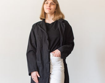 Vintage Black Knot Shop Jacket | Utility Duster Coat | M L |