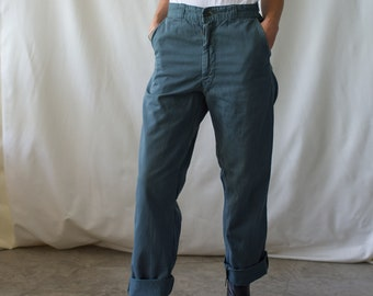 Vintage 28 Waist Teal Cotton Twill Chinos Pants | Paint Speckled | TC05