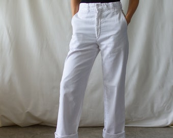 Vintage 27 28 Waist White Chino Pant | High Waist 60s Cotton Chinos | Made in USA Pants| Zipper Fly |