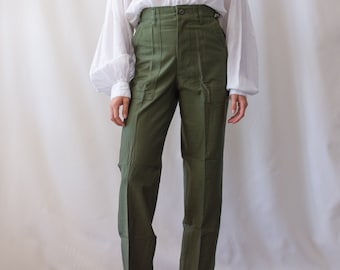 Vintage 25 Waist Army High Waist Pants   OG 107   Cotton Utility Army Pant   Green Fatigue Slim Trouser   Made in USA