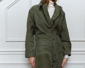 Vintage Olive Green Coverall Patchwork   Green Army Jumpsuit   Flight Suit Studio Ceramic Painter Onesie   Boilersuit