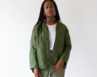 Vintage Green Liner Jacket | Quilted Nylon Coat | M L