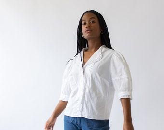 Vintage White Puff Sleeve Shirt | Romantic Cotton Crochet Trim Blouse Folk | S M