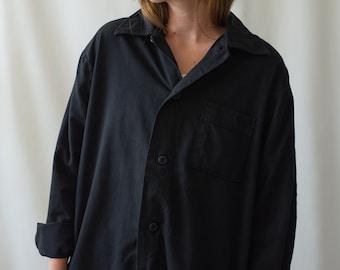 Vintage Overdye Black Flannel Shirt Jacket | Pajama shirt | 50s 60s Pyjama Blouse | S M L |