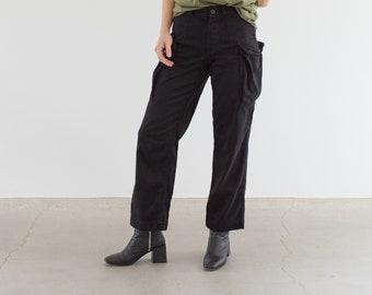 Vintage 27 Waist Black High Waist Cargo Pants | Fatigues Trousers | Dutch Military | XS