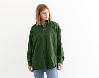 Vintage Forest Green Popover Tunic Shirt   Pullover   Cotton Henley   M   GP002