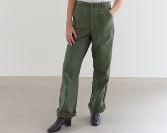 Vintage 28 Waist Olive Green Army Pants | Utility Fatigues Military Trouser | F082